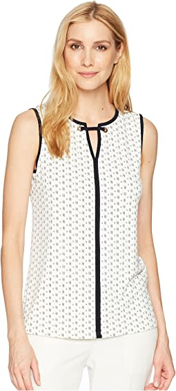 Matte Jersey Contrast Piping Sleeveless Printed Top