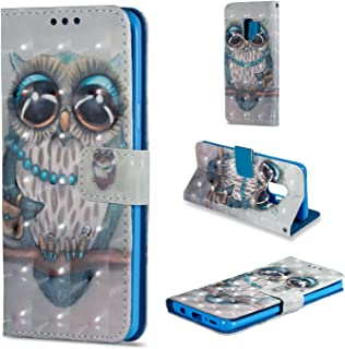 [3D Painting] Galaxy S9 Case, Protection Wallet Case [ID Card / Cash Slot] Stand Flip Cover Shock Absorbing TPU Casing For Samsung Galaxy S 9 Grey Owl [Not Fit Samsung GalaxyS9 Plus S9+]