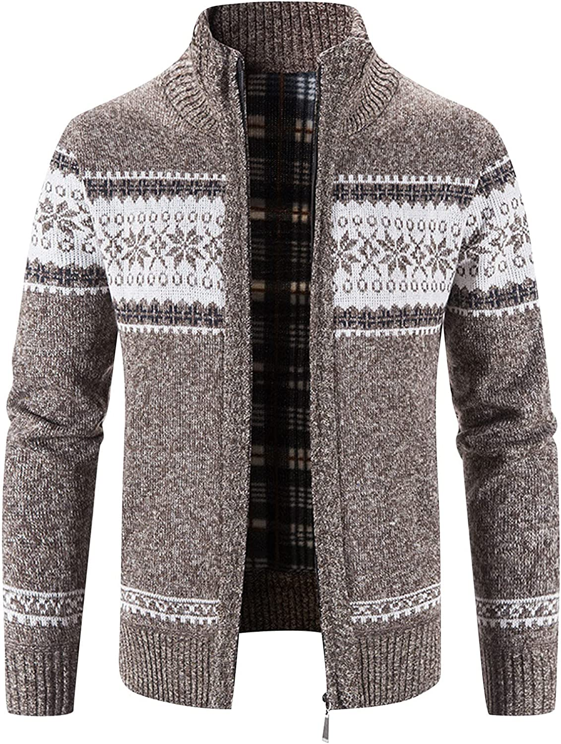 Mens Zip Max Raleigh Mall 53% OFF Cardigan Sweater Block Warm Cardig Printed Collar Stand