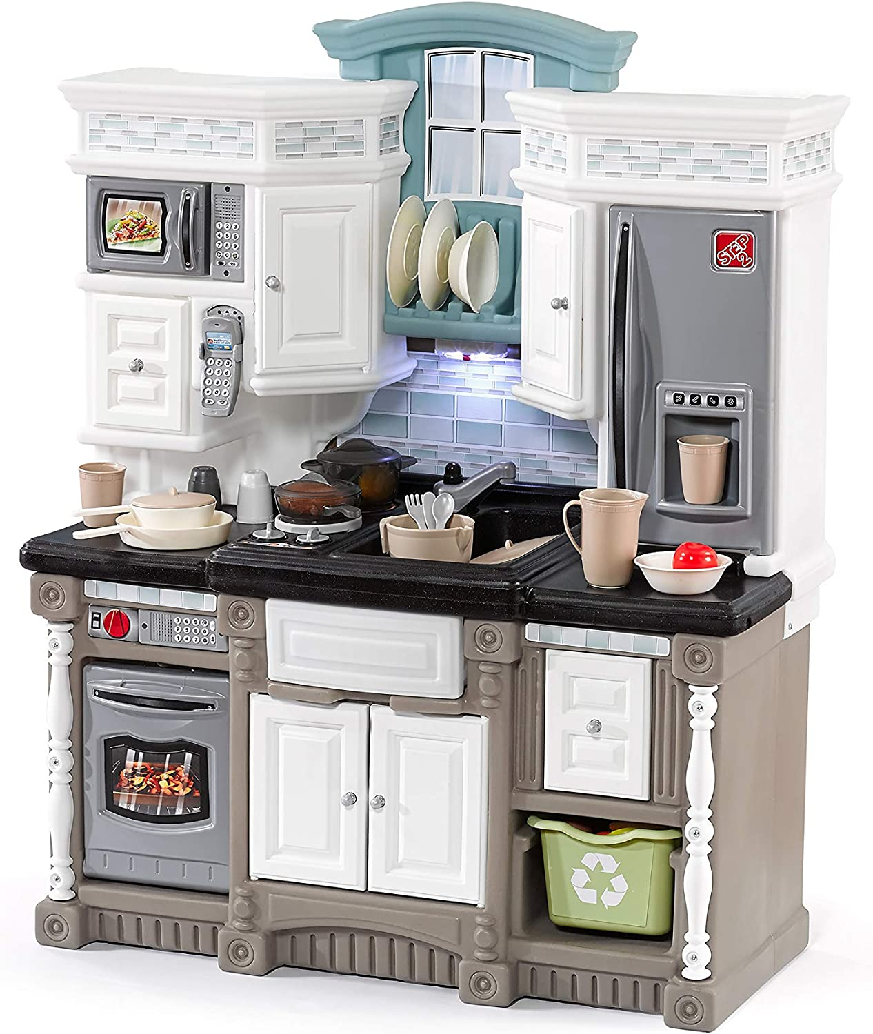 Step2 Lifestyle Dream Kitchen   Plastic Toy Play Kitchen with 37-Pc Accessories Set   Contemporary Kids Kitchen Playset: Toys & Games