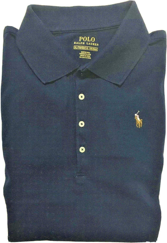 Polo Ralph Lauren Girls Short Sleeve Polo Shirt Size 8-10 Navy Blue