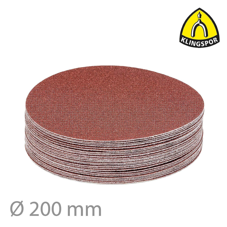 Klingspor Disques abrasifs Velcro compatibles avec ponceuse /à disque et ponceuse excentrique Grain : 100 25 pi/èces non perfor/é Papier abrasif PS 18 EK /Ø 150 mm