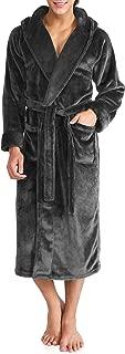 Men's Hooded Fleece Robe Ultra Soft Full Length Long Bathrobe