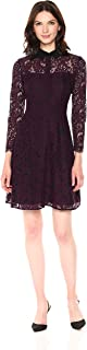 Nanette Nanette Lepore Women's Long Sleeve Lace Shirt Dress W/Contrast Collar