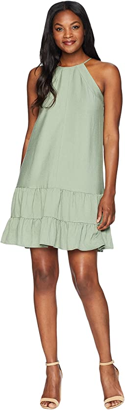 Sleeveless Halter Neck Ruffled Dress