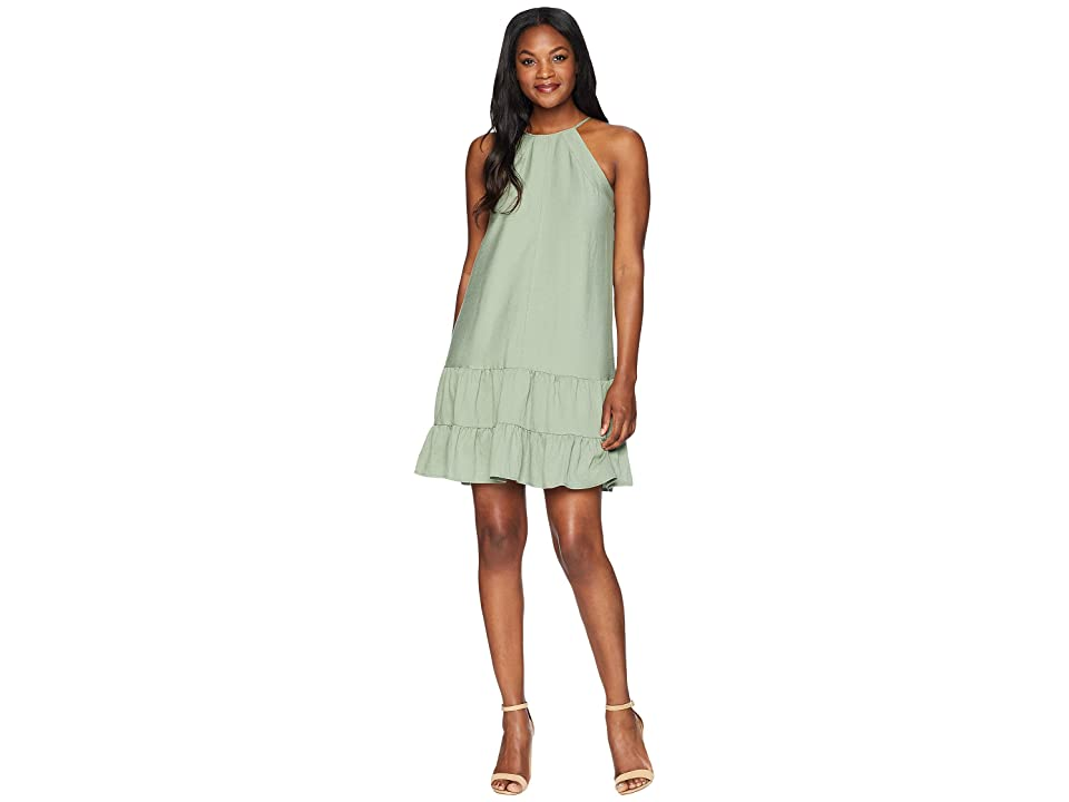 CeCe Sleeveless Halter Neck Ruffled Dress (Wild Sage) Women