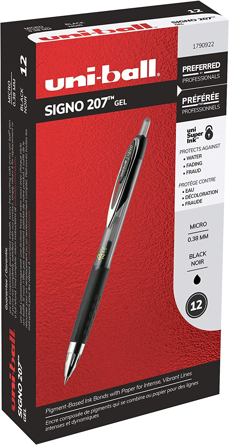 Black Ink uni-ball Signo 207 Retractable Gel Pens 12-Pack 1790922 Ultra-Micro Point