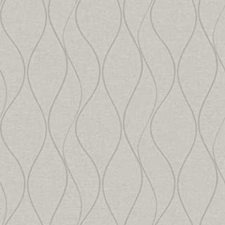 RoomMates Beige Wave Ogee Peel and Stick Wallpaper