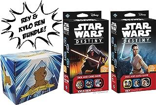 Star Wars Destiny Rey and Kylo Ren Starter Sets Bundle Featuring Golden Groundhog Storage Box Sold from SCATS
