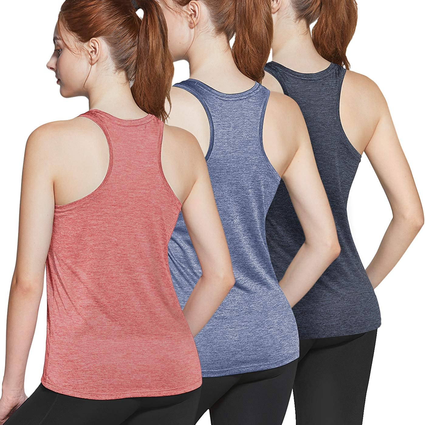 Dry Fit Yoga Athletic Tank Top Running Exercise Gym Shirts ATHLIO 3 Pack Womens Racerback Workout Tank Tops