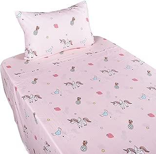 J-pinno Unicorn Happy Girls Pink Muslin Cotton Bed Sheet Set Twin, Flat Sheet & Fitted Sheet & Pillowcase Bedding Set (16, Twin)