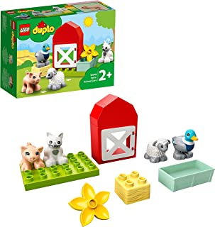 LEGO 10949 DUPLO Town Farm Animal Care Toy for Toddlers 2 + Years Old with Duck, Pig, Sheep and Cat Figures