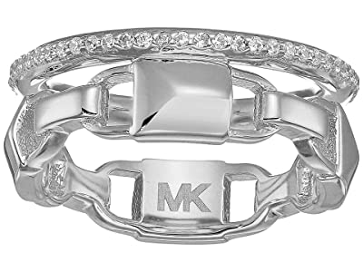 Michael Kors Precious Metal-Plated Sterling Silver Mercer Link Pave Halo Ring (Silver) Ring