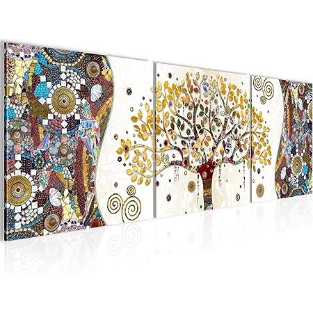Cuadros Modernos Impresi/ón de Imagen Art/ística Digitalizada Lienzo Decorativo para Tu Sal/ón o Dormitorio 5 Piezas 150 x 80 cm arbol de la Vida Gustav Klimt con Paisaje en Playa DekoArte 553