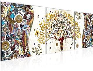 Runa Art - Pintura Gustav Klimt Árbol De La Vida 120 x 40 cm Cuadro in Lienzo no Tejido Vistoso Varias Partes Moderno Deco...