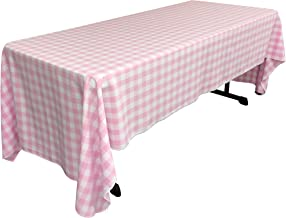 LA Linen Checkered Tablecloth, 60 by 120-Inch, Pink
