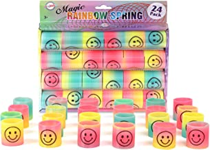 PlayKidz Magic Rainbow Spring w/Smiley Face Printed, Colorful Pack of 24, Great Supply for Parties and Birthdays for Kids ...
