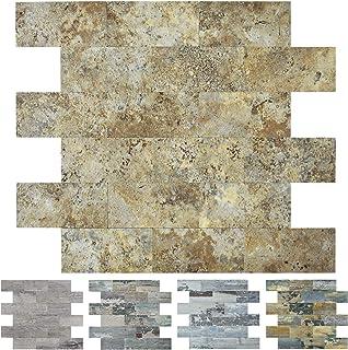 Art3d Stone Backsplash Tile Peel and Stick for Kitchen, 10-Sheet of 12x12inches, Covering 9 Sq.ft, Ecru Slate