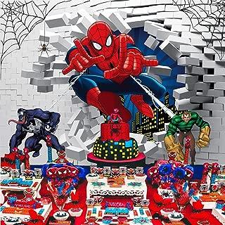 Spiderman Backdrop, Superhero Theme Cartoon Birthday Party Supplies Backdrop White Brick Wall Background for Photographic Kids Children Party Studio Photo Backdrop Props