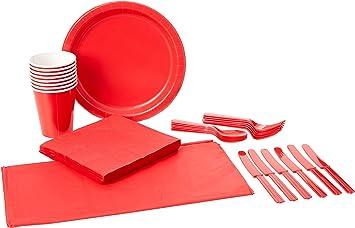 color//modelo surtido 30284 Unique Party- Cubiertos de pl/ástico para 6 Color rojo