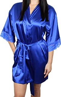 Women's Satin Kimono Bridesmaid Silky Short Robe Lace Trim Sleeves and Pockets