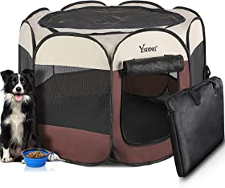 Ysding Portable Foldable Pet Playpen and Puppy Playpen with Free Carrying Case Collapsible Travel Bowl,Indoor/Outdoor Use ...