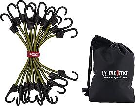 MAGMA 12-Unit Bungee Koorden pakket | Kabelbinders voor Auto Truck en Trailer | Bagagebanden voor het beveiligen van Basha...