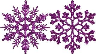 Sea Team Plastic Christmas Glitter Snowflake Ornaments Christmas Tree Decorations, 4-inch, Set of 36, Purple