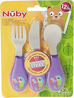 Nuby Stainless Steel Toddler Utensils Spoon, Fork & Knife for Kids Self Feeding Tableware Set,12 months+, Pack of 1