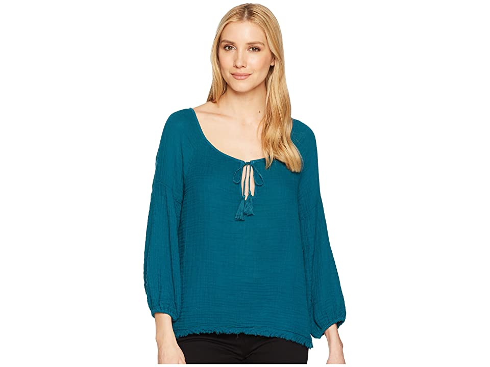 Three Dots Indra Gauze Peasant Top (Pacific Blue) Women