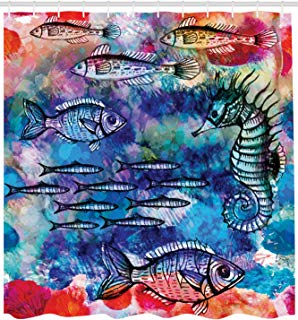 Ambesonne Fish Seahorse Coastal Decor Collection, Sea Creatures Watercolor Painting Effect Batik Print, Polyester Fabric Bathroom Shower Curtain Set with Hooks, 75 Inches Long, Navy Magenta Pink