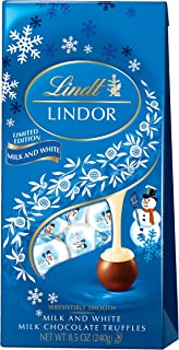Lindt LINDOR Holiday Snowman Milk & White Chocolate Truffles, Kosher, Great for Holiday Gifting, 8.5 Ounce (Pack of 12)