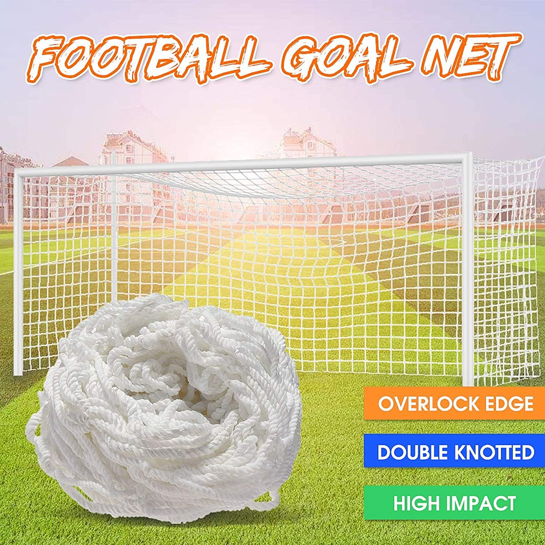 8x4FT Full Size White Football Soccer Goal Post Net for Outdoor Sports Training Match Polypropylene OverlockEdge Double Knotted