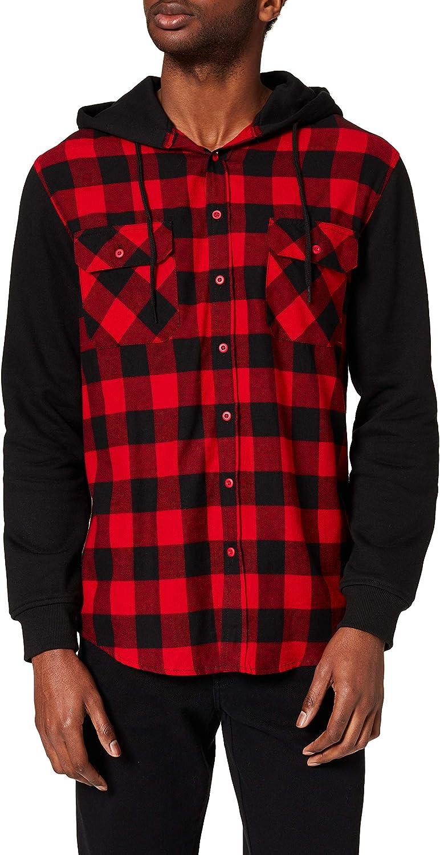 Urban Las Max 80% OFF Vegas Mall Classics Mens Hooded Checked Shirt Sleeve Sweat Flannel