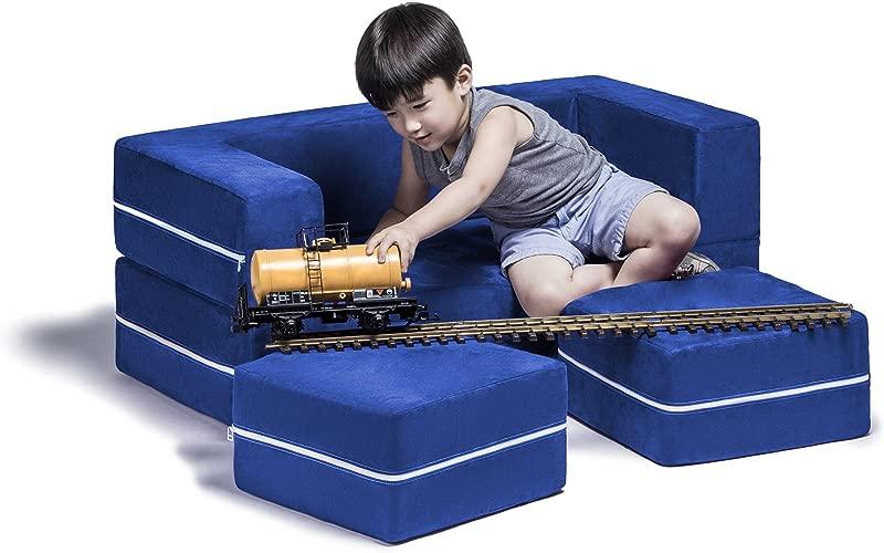 Jaxx Zipline Kids Modular Loveseat Ottomans Fold Out Lounger Blueberry