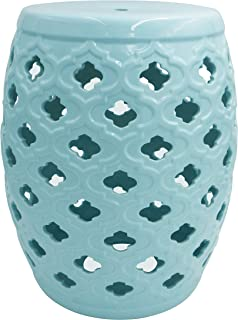 Ravenna Home Moroccan-Pattern Ceramic Garden Stool or Side Table, 16