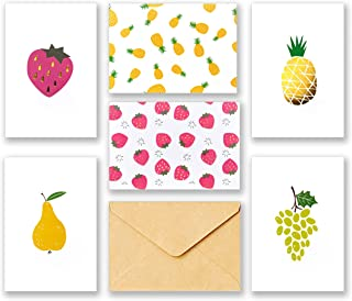 60 All Occasion Assorted Blank Cards – 6 Fruit Designs Stationery with Brown Kraft Envelopes and Stickers – Bulk Box Greeting Set of Strawberry Pineapple Pear Grape Design Notes, 4 x 6 Inch