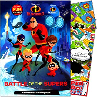 Disney The Incredibles Coloring Book Bundled with Separately Licensed GWW Super Hero Door Hanger & Reward Stickers