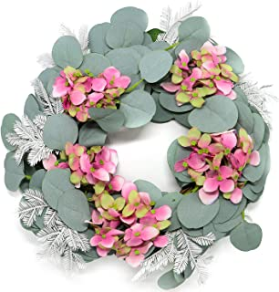 Jolitac 16 inch Artificial Wreath Green Leaf with Rattan Base Weaving, Handmade Eucalyptus, Cotton Flowers, Hydrangea, Grapevine Wreathes for Home Wall Door Decor (Hydrangea-16inch)