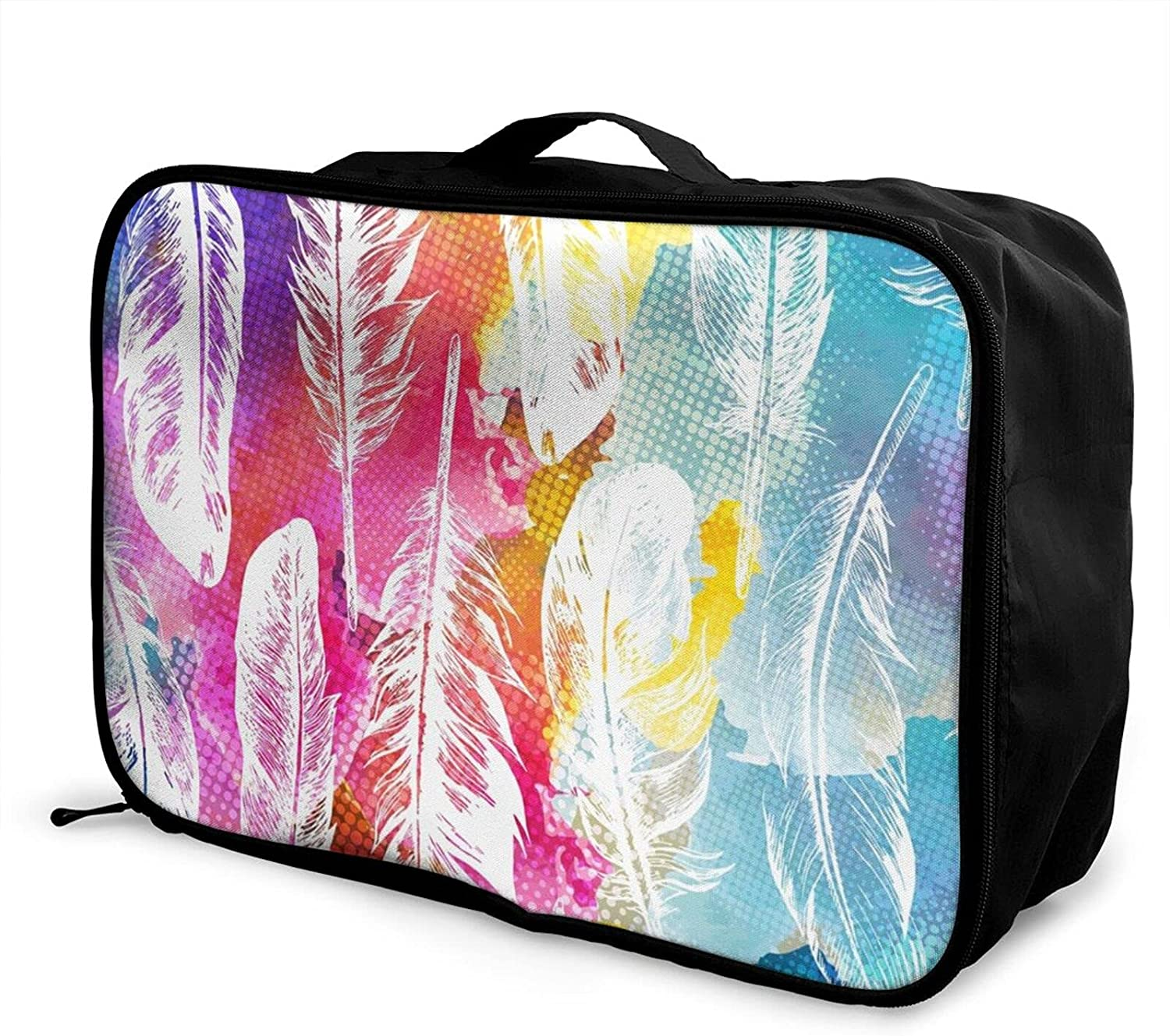 Foldable Travel Bag Tote shopping Watercolor Rainbow To Feathers Carry-On Ranking TOP4
