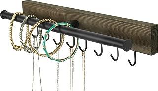 Wall Mounted Rustic Brown Wood & Black Metal 8 Hook Jewelry Hanger Rack w/Necklace & Bracelet Bar
