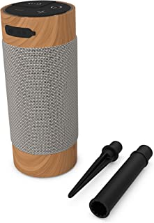 KitSound Diggit XL Outdoor Freestanding Bluetooth Garden Speaker with Removable Stake - Silver/Wood