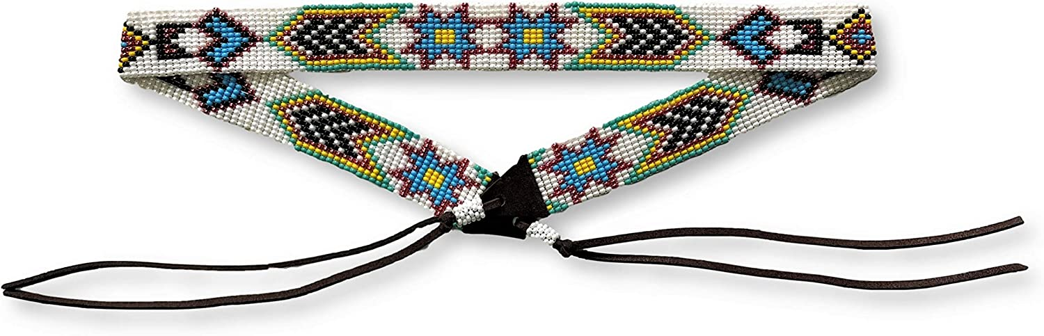 Mayan Arts Hat Band, Hatband, Western Cowboy, Cowgirl Beaded Hat Bands, Blue, Leather 7/8 Inches x 21 Inches