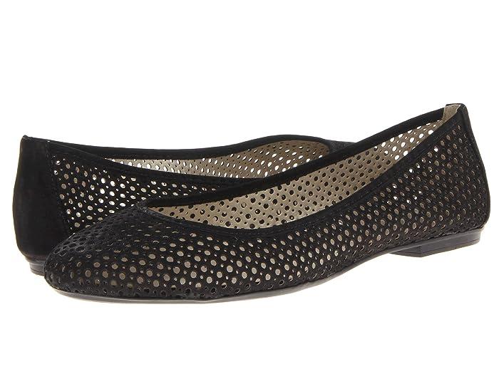French Sole  League (Black Nubuck) Womens Flat Shoes