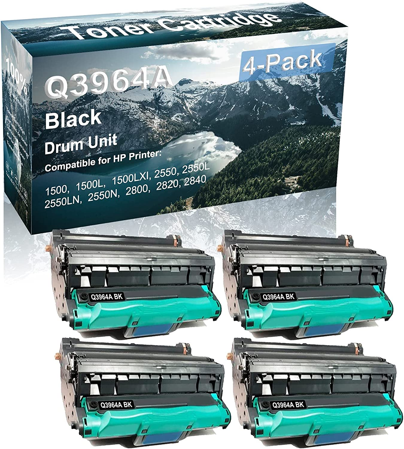 4-Pack Compatible Q3964A Drum Kit use for HP 1500 1500L 1500LXI Printer (Black)