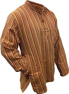 SHOPOHOLIC FASHION Mens Striped Grandad Shirt