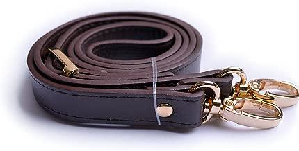 Wento 1pcs 43''-49'' Dark Brown Faux Leather Adjustable Bag Strap,Soft Vinyl Leather Shoulder Straps,Replacement Cross Body Purse Straps,Handbag Bag Wallet Straps (Gold)