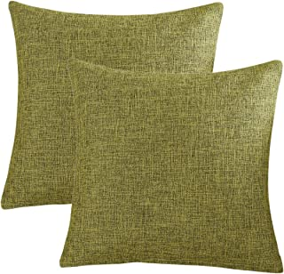 Kingria Linen Throw Pillow Cover Soft Decorative Cushion Cover for Sofa Couch Bed and Car Set of 2 (18x18inch Green)