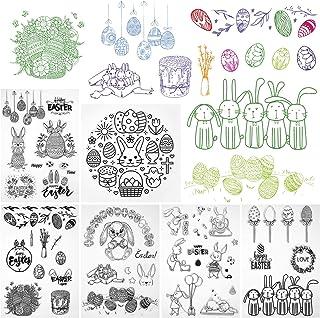 Kesote 6 Feuilles Pâques Lapins Tampons Clairs Transparents Scrapbooking Stamp en Silicone pour DIY Loisirs Créatifs Décor...