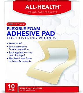 All Health Flexible Foam Adhesive Pad, 10 Pads, 3.5 in x 4.5 in, 8 Hour Protection   Waterproof Bandage for Covering Wounds